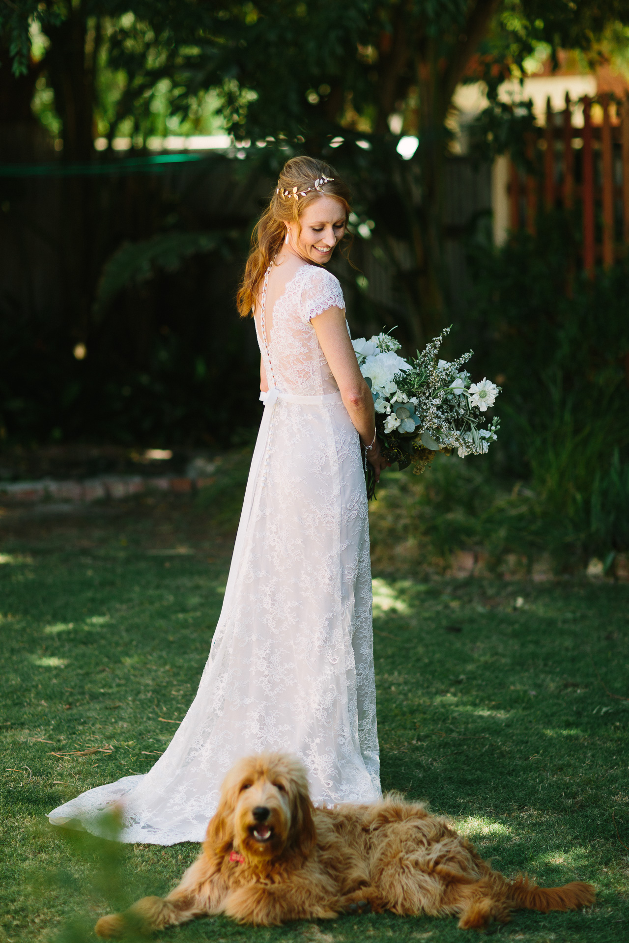 beautiful bride with her dog