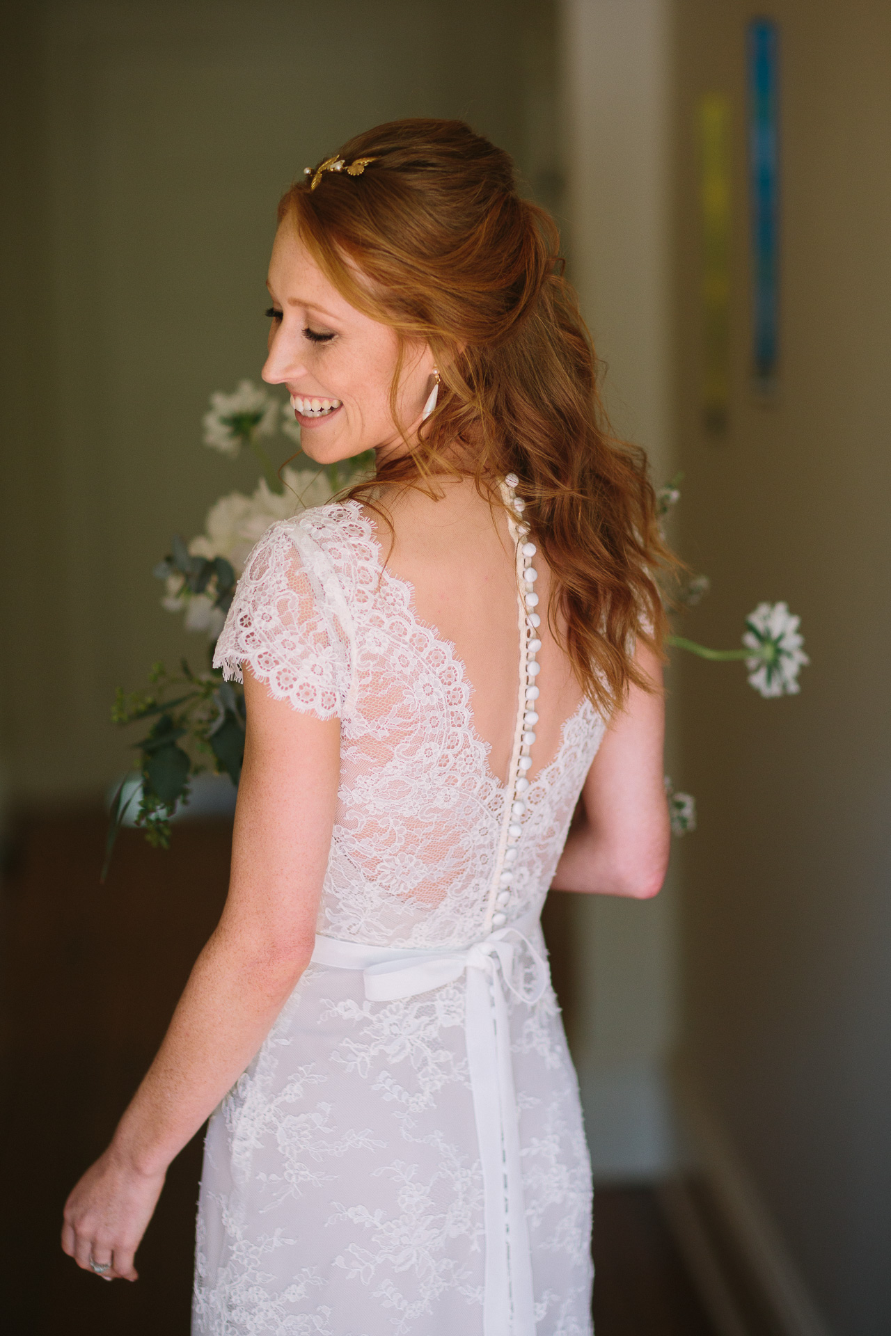 beautiful bride, back of wedding dress detail