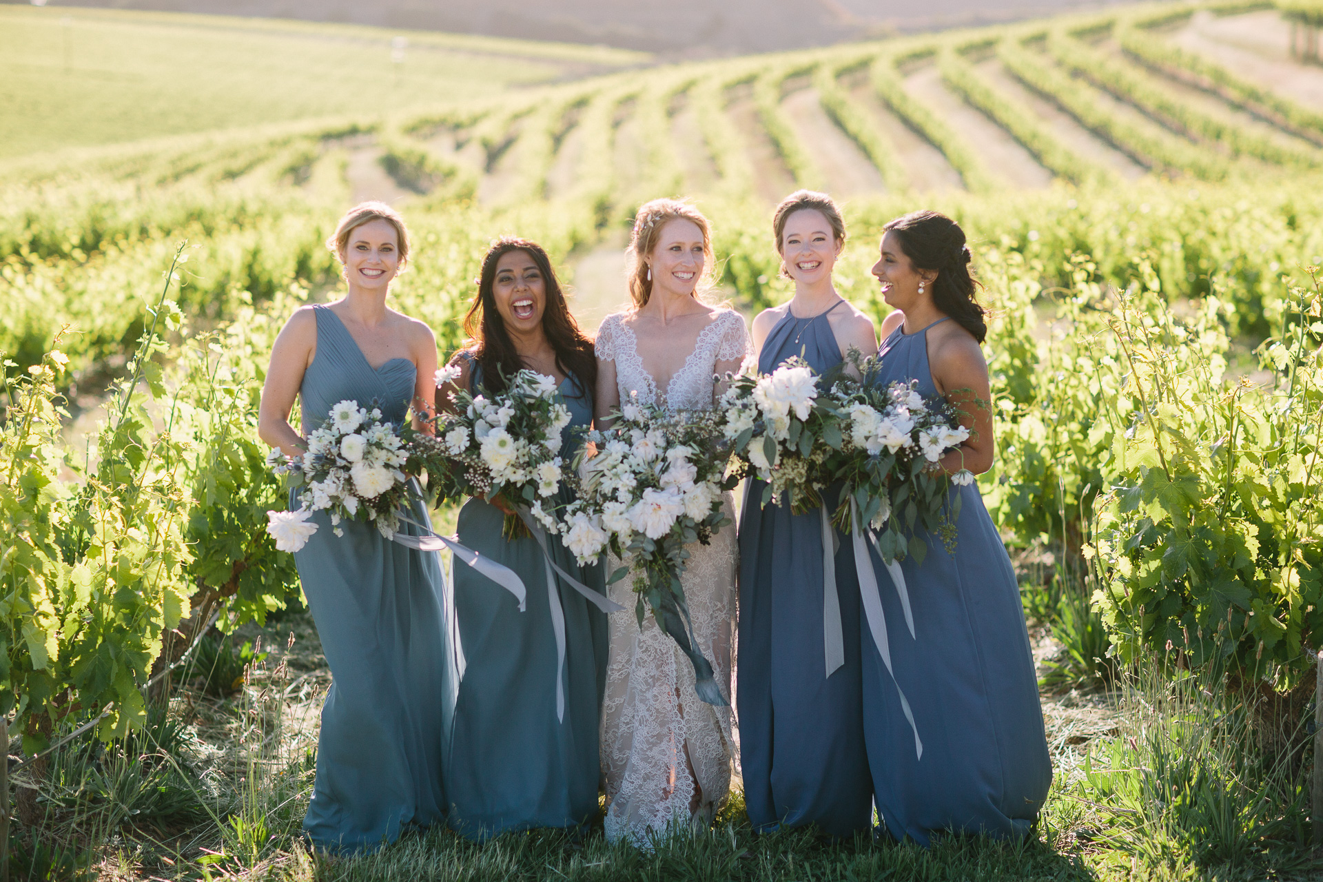Coriole winery wedding mclarenvale, bridesmaids in the vineyard