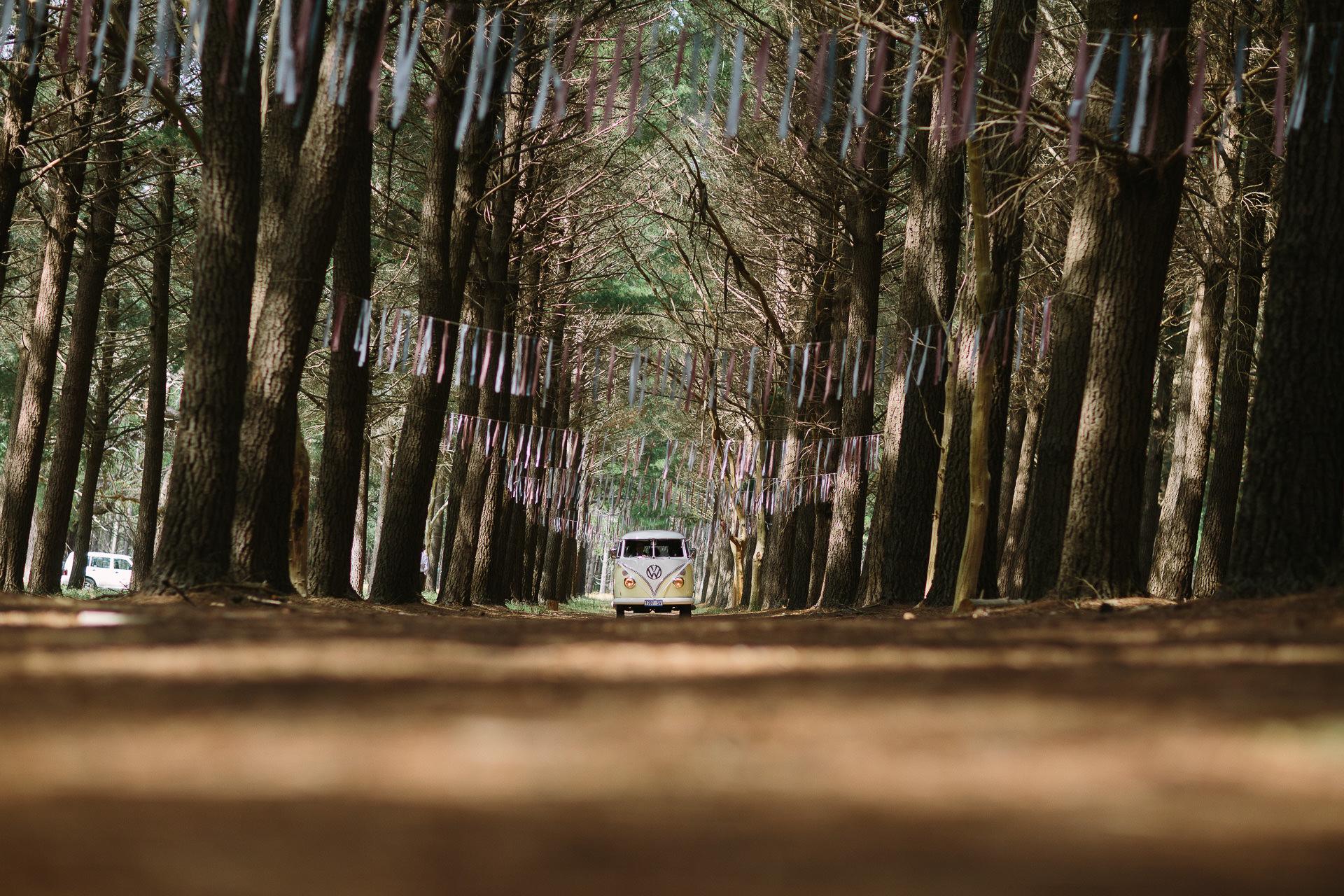Kombi van arriving at wedding in Kuitpo forest Adelaide