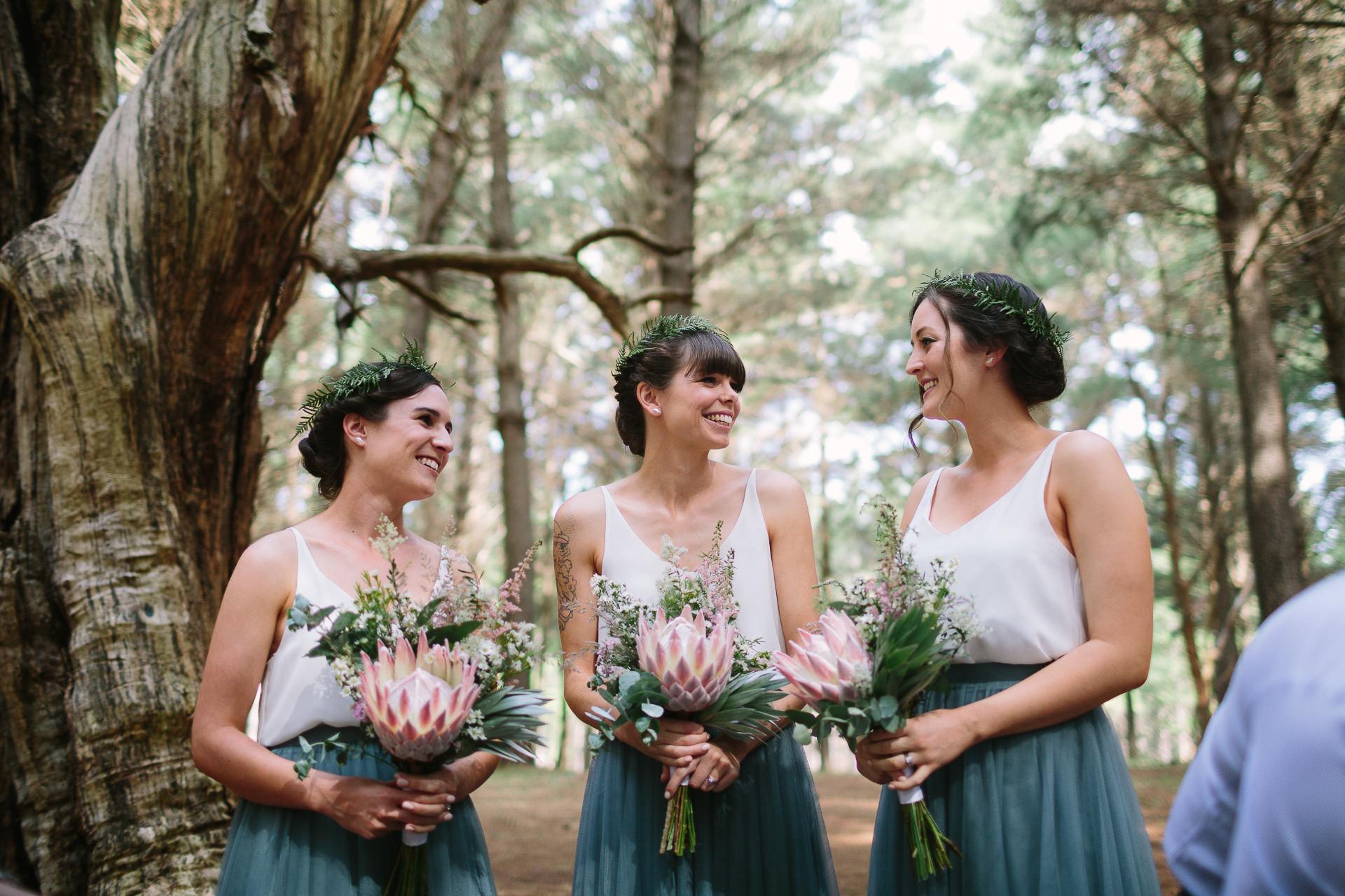 Happy bridesmaids in Kuitpo forrest