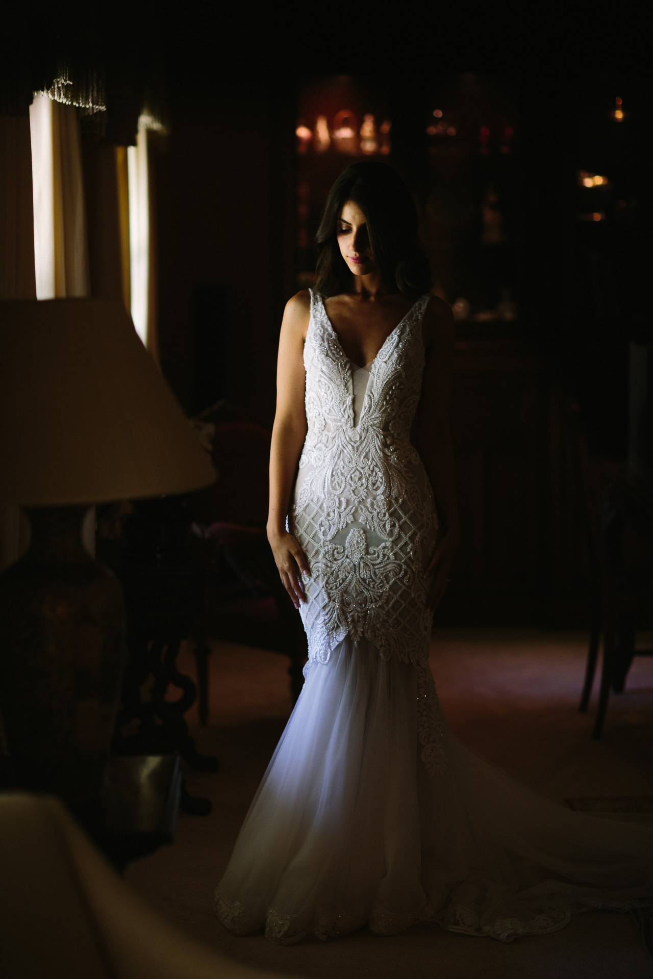 beautiful bride in wedding gown at Mandalay House and garden Adelaide Hills