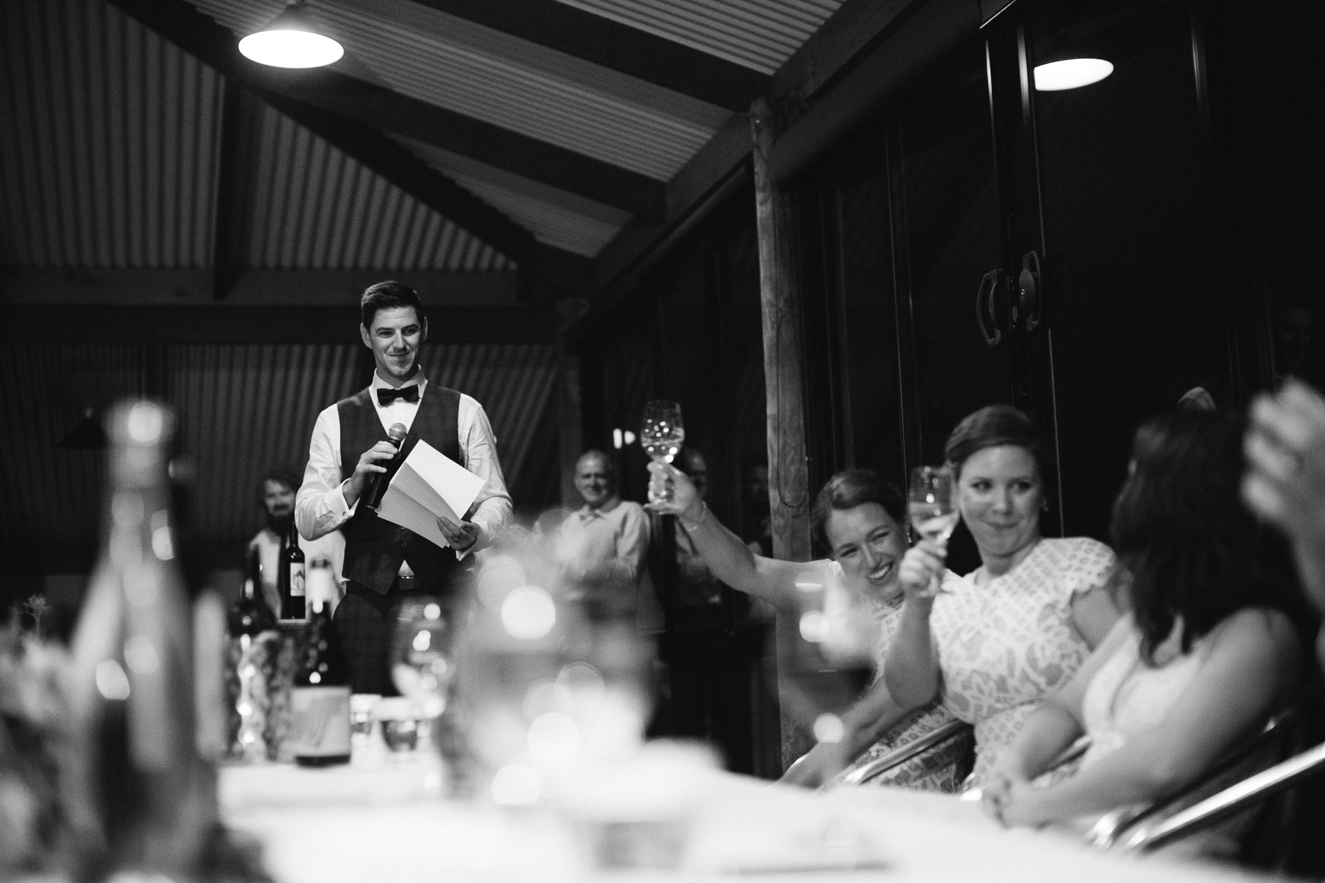 Groom making speech at wedding reception at Longview winery wedding in Macclesfield in the Adelaide Hills