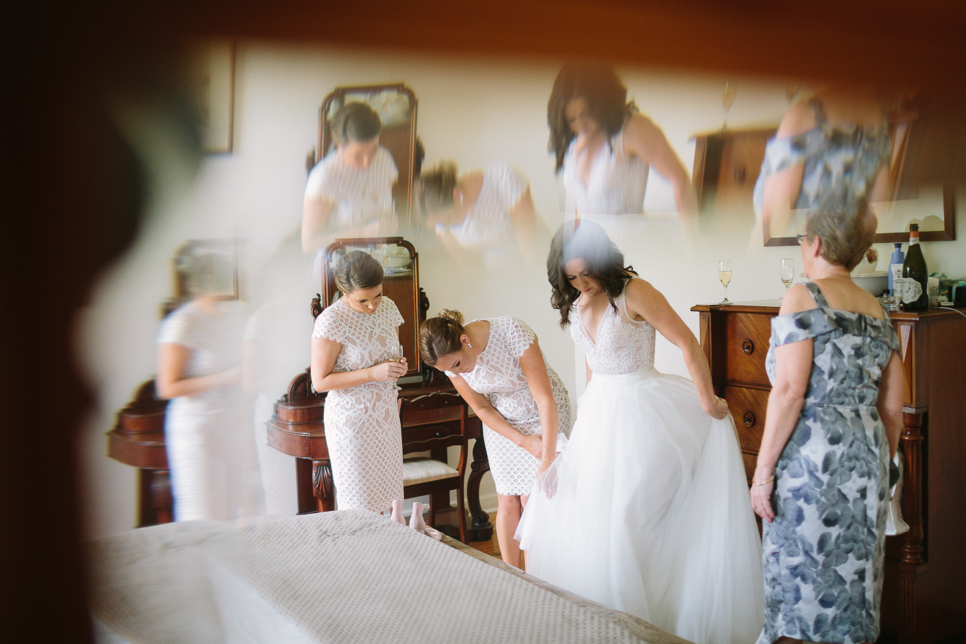 bridesmaids with bride longview  winery wedding