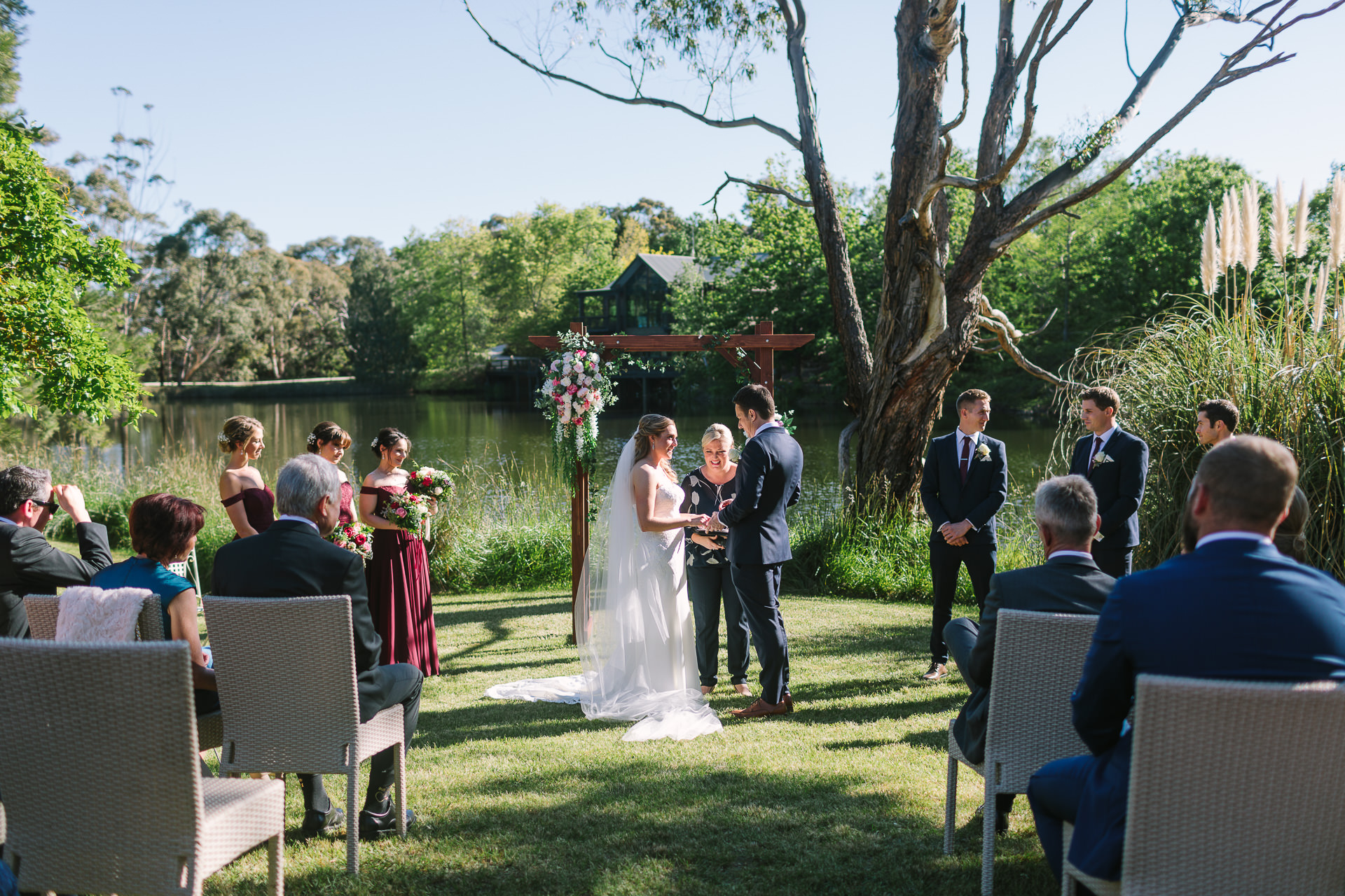 ceremony location by the lake at K1 winery in Kuitpo near mclarenvale